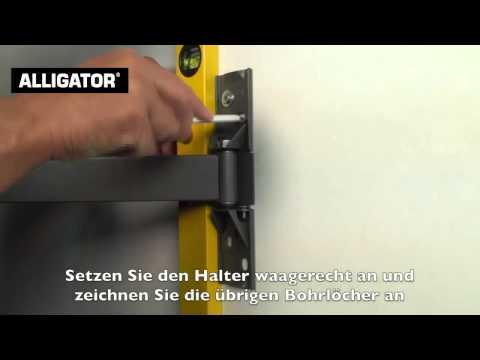 Flachbildfernseher mit Schwenkarm an Porenbeton befestigen mit ALLIGATOR Dübel & Anker