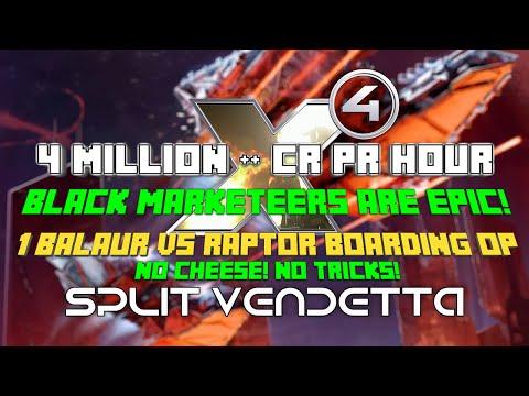 4 million + p/h Black marketeers, Raptor Easy Boarding op X4 foundations split vendetta Egosoft