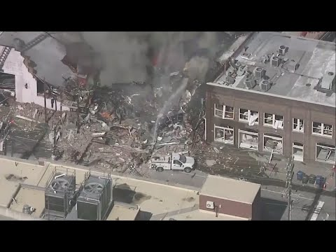 A gas explosion that collapsed a North Carolina building and set it ablaze Wednesday morning killed one person and injured 15 others, police said. (April 10)