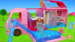 Barbie Dolls Unboxing: Dream Camper, Dreamhouse, Boat, Doll Sisters & Toy Vehicles Play for Kids