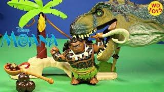 New Disney Moana Maui Demigod Kakamora Adventure Vs Bull Trex and Spinosaurus Jurassic Park Unboxing