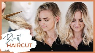 Blunt Haircut Tutorial With Face Framing Layers Medium Length | Including Dry Cutting Technique