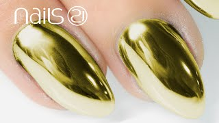 GOLD MIRROR POWDER NAILS Step By Step Tutorial - Nails 21
