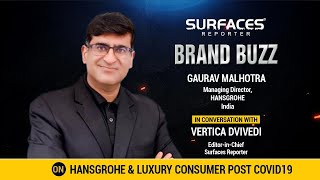 Who is the guest in BRAND BUZZ this week? MD of HANSGROHE India | GAURAV MALHOTRA on LUXURY CONSUMER post COVID|  SURFACES REPORTER