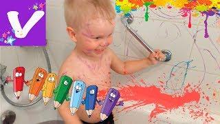 Витя балуется с водой! Веселые игры в ванной для детей Entertainment for children Bath time