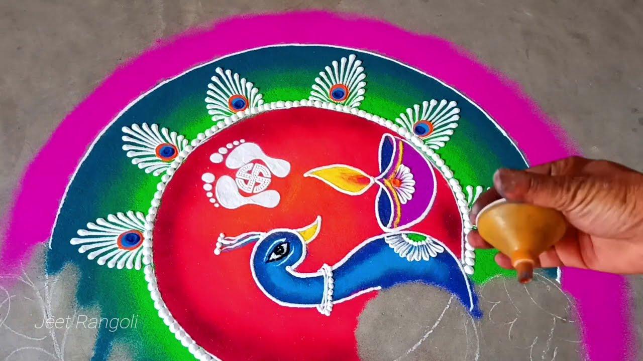hindu rangoli design for diwali peacock by jeet