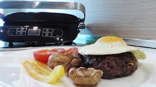 Смотреть онлайн Жарим на сковороде гриль бифштекс с яйцом