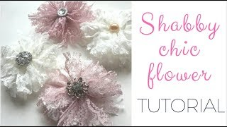 No Sew, No Glue Easy Shabby Chic Flower Tutorial! DIY