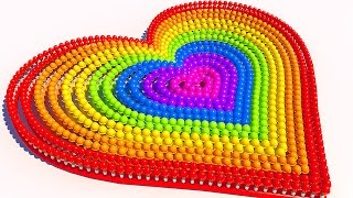 Teach Colors with A lot of 3D Ice Cream Heart for Kids and Children