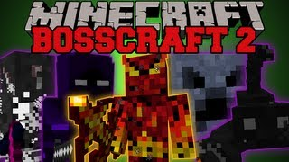 Minecraft : POWERFUL BOSSES (5 EPIC BOSSES, POWERFUL WEAPONS AND ABILITIES) BossCraft 2 Mod Showcase