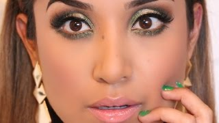 preview picture of video 'Gold and Green Eye Look + Full Face Makeup Tutorial | Holiday 2014'