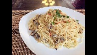 深夜爬起床都要做吃「蜆肉蒜香意麵」超簡單零失敗-西餐-義大利麵-Garlic Spaghetti With Clam