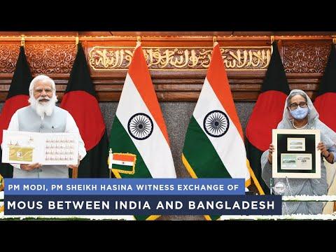 पीएम मोदी, पीएम शेख हसीना भारत और बांग्लादेश के बीच समझौता ज्ञापनों का आदान-प्रदान करते हैं
