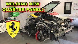 """REBUILDING A WRECKED FERRARI 488 GTB FROM COPART PART 6 """"WELDING QUARTER PANEL"""""""