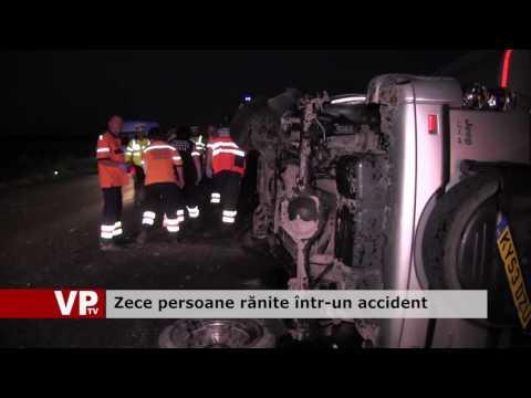 Zece persoane rănite într-un accident