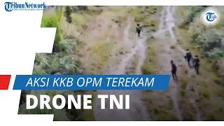 Lari Masuk Hutan dan Lempar Barang, Aksi KKB OPM Terekam Drone Milik TNI dan Viral di Medsos
