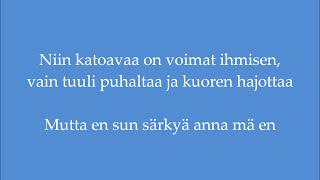 """Video thumbnail of """"Johanna Kurkela - Sun särkyä anna mä en (Lyrics)"""""""