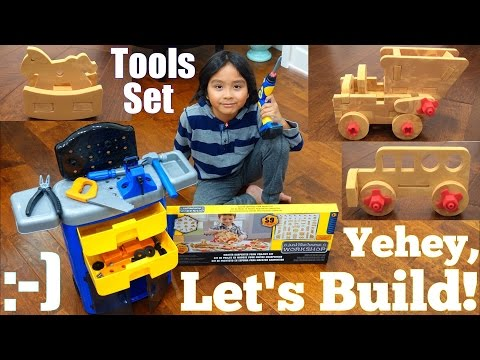 Toy Channel: Carpenter Pretend Play Workshop. Tools Set Playtime. Rolling Tool Chest Toy Unboxing