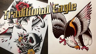 How To Draw A Traditional Eagle Tattoo!