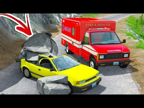 CAR CRUSHED BY FALLING ROCKS ON CLIFF ROAD! - BeamNG Drive Cliff Scenarios