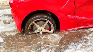 Ferrari car stuck in the mud Funny Paw Patrol Skye Ride On POWER WHEEL Quad Bike to help