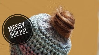 How to Loom Knit a Messy Bun Hat with an Elastic Hair Band (DIY Tutorial)