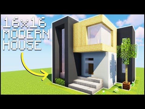 Minecraft 16x16 Starter Modern House Tutorial Easy Minecraft Map