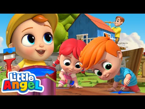 We Help Daddy Build A Treehouse | Little Angel Nursery Rhymes and Kids Songs