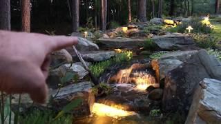 Backyard Pondless Waterfalls At Night In Lawrenceville, GA