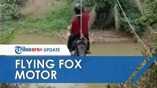 Beredar Video Dua Wanita Naik Motor Ditarik Layaknya 'Flying Fox', Nekat Demi Bisa Lewati Sungai