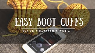 How To Knit - 3x3 Ribbed Boot Cuffs Tutorial - Knitting In The Round