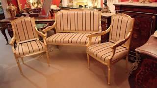Bespoke French Louis XVI Giltwood - Sofa & Pair Armchairs