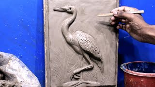 Clay Heron Making Relief || Clay Bird Making Step By Step || Relief Clay Modeling Process