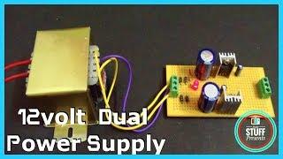+12/-12 Volt Transformer Based Dual  Voltage Power Supply Using 7812 & 7912