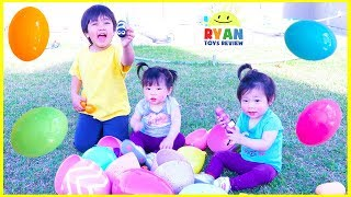 Easter Egg Hunt Surprise Toys for kids and Bubbles Playtime with Ryan, Emma, and Kate!