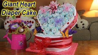 Giant Heart Diaper Cake