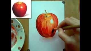 Смотреть онлайн Как нарисовать акварелью яблоко поэтапно