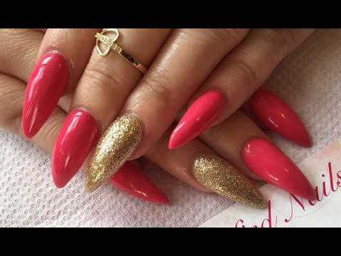 Acrylic Nails, long stiletto along with Semilac UK Gel Polish review