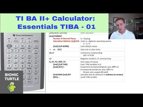 TI BA II+ Calculator: Essential Settings (TIBA2-01) - YouTube