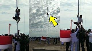Video Patriotik Siswa SMP Panjat Tiang Bendera karena Tali Putus, Sempat Diteriaki Suruh Turun