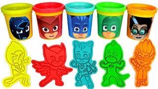PJ Masks Play Doh Learn Colors with PJ Masks Molds and Toys Catboy Owlette Gekko Romeo Night Ninja