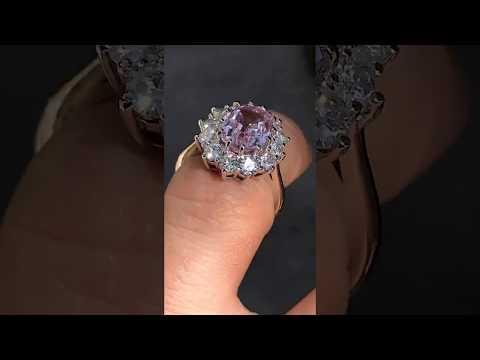 Princess Di ring with light pink sapphire center - eng175