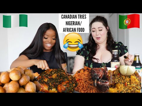 CANADIAN Tries Nigerian/African Food for the 1st Time 😂 || Cow Skin, Jollof Rice, etc