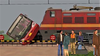 SHATABDI EXPRESS Hit the BUS when it was cross the LEVEL CROSSING - Railworks Indian Train Simulator