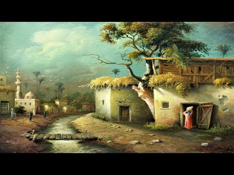 oil painting egyptian village by yasser fayad