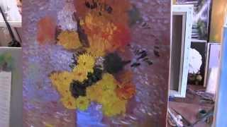 Научиться рисовать, писать как художник Ван Гог, букет цветов, художник Сахаров