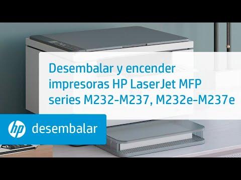 Desembalar y encender impresoras HP LaserJet MFP series M232-M237, M232e-M237e | HP LaserJet | HP