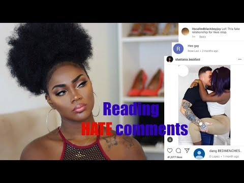 BLACK WOMAN + WHITE MAN IN A RELATIONSHIP!  WHAT'S THE PROBLEM? READING MEAN COMMENTS
