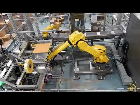 Formado, Empacado, sellado y paletizado de cajas con robot a través de la ERGOPAKPAL de Combi