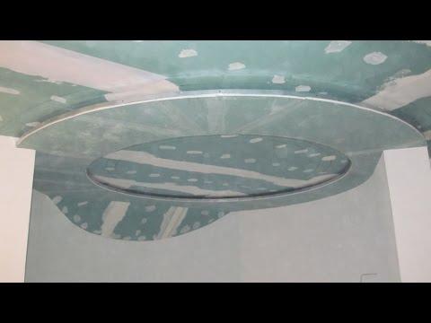 Круглый короб из гипсокартона с потайной подсветой с двух сторон